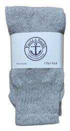 Yacht & Smith Kids Solid Tube Socks Size 6-8 Gray Bulk Pack