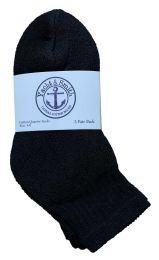 Yacht & Smith Kids Cotton Quarter Ankle Socks In Black Size 4-6 Bulk Pack