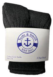 Yacht & Smith Kids Value Pack Of Cotton Crew Socks Size 2-4 Black Bulk Pack
