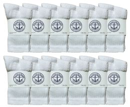 Yacht & Smith Kids Cotton Crew Socks White With Gray Heel And Toe Size 4-6 Bulk Pack