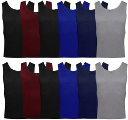 Yacht & Smith Mens Ribbed 100% Cotton Tank Top, Assorted Colors, Size S