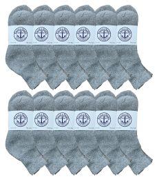 Yacht & Smith Mens Lightweight Cotton Sport Gray Quarter Ankle Socks, Sock Size 10-13