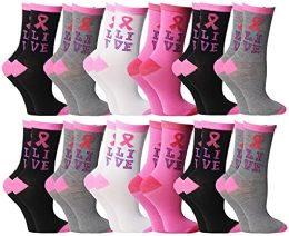 Pink Ribbon Breast Cancer Awareness Assorted Ankle Socks For Women (Size 9-11)