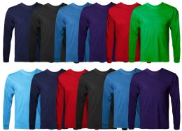 Mens Cotton Long Sleeve Tee Shirt Assorted Colors Size Small