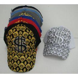 Adjustable Glitter $ Ball Cap 48 pack
