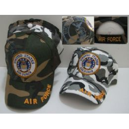 Camo Air Force With Shadow Hat [air Force On Bill] 144 pack