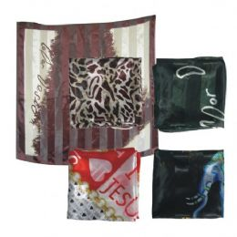 38in X 36in Silk Scarf Assorted Design And Colors 96 pack