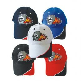 Skull Baseball Cap Assorted Colors 144 pack