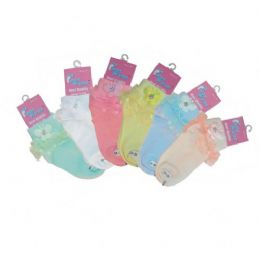 LACE FLOWER ANKLE SOCKS ASSORTED SIZES ASSORTED COLORS 48 pack