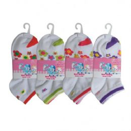 3 Pair Girls Flower Ankle Socks Size 4-6 Assorted Colors 48 pack
