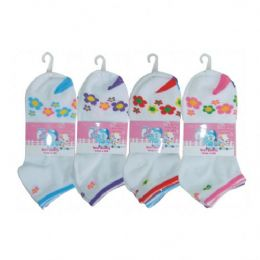 3 Pair Girls Flower Ankle Socks Size 6-8 Assorted Colors 48 pack