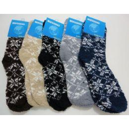 Fuzzy Socks 10-13 [snowflakes] 240 pack