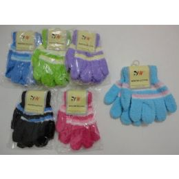 Girls 3 Color Chenille Gloves 180 pack