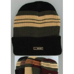 Heavy Duty Knit Cap With Multicolor StripeS-Solid Fold 72 pack