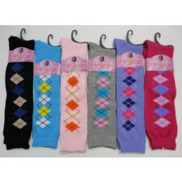 Ladies Knee-High Argyle Socks 9-11 12 pack