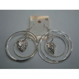 EarringS-3 Hoop With Heart Charm