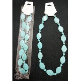 NecklacE-Turquoise Flat Oval Beads