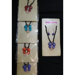 Necklace/earrings SeT-4 Petal Flowers & Rhinestones 72 pack