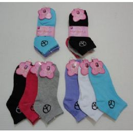 Ladies Peace Sign Sock Size 9-11 3 Pack -Can Be Hung By Pair 240 pack