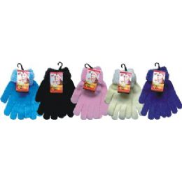 Ladies Chenille Glove Asst Colors With Fur Cuff 48 pack