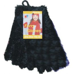 Furry Gloves Asst Colors Black Only 36 pack