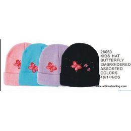 Kids Hat With Butterfly Embroidery 144 pack