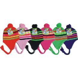 Neon Craze Striped Fleece Winter Hat 96 pack
