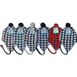 Hounds Tooth Print Fleece Winter Hat