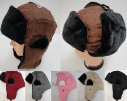 Aviator Hat With Fur TriM--Suede