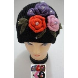 Hand Knitted Fashion CaP--5 Flowers And Rhinestones 72 pack