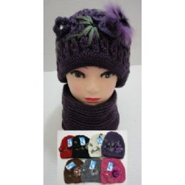 Hand Knitted Fashion Hat & Scarf SeT--1 Flower & Fur 48 pack