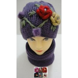 Hand Knitted Fashion Hat & Scarf SeT--2 Flowers