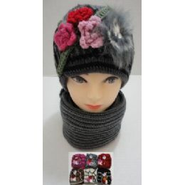 Hand Knitted Fashion Hat & Scarf SeT--3 Flowers & Fur 72 pack
