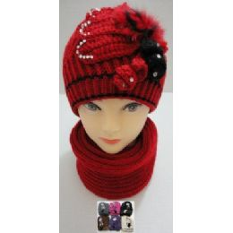 Hand Knitted Fashion Hat & Scarf SeT--RhinestoneS-BeadS-Fur 48 pack