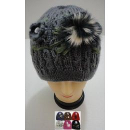 Hand Knitted Fashion HaT--1 Flower & Fur 36 pack