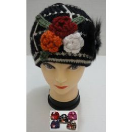 Hand Knitted Fashion CaP--3 Flowers & Fur