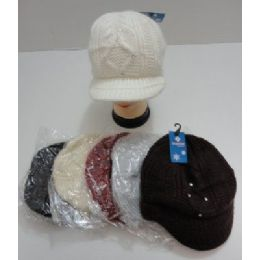 Ladies Hand Knitted Cap With Rhinestones 24 pack