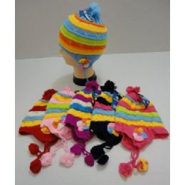 Child's Knit Cap With Ear Flap And PompoM--Flowers 72 pack