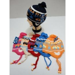 Child's Knit Cap With Ear FlaP--Cars 72 pack