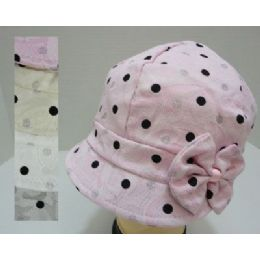Ladies Fashion Cap With BoW-Print & Polka Dots