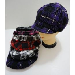 Ladies Knit NewsboY-Heavy Knit Plaid With Sparkles 60 pack