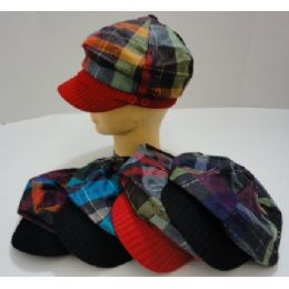 Ladies Newsboy HaT-Felt Metallic Plaid [knit Bill] 144 pack