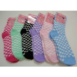 Women's Fuzzy Socks 9-11[ Two Color Checkerboard 144 pack