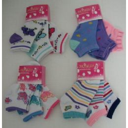3pr Girls Anklets 4-6 Asst Prints-Can Be Hung By Pair 48 pack