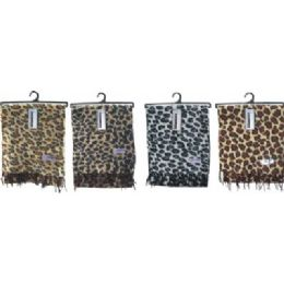 Ladies Leopard Print Woven Cashmere Feel Scarf #21017 72 pack