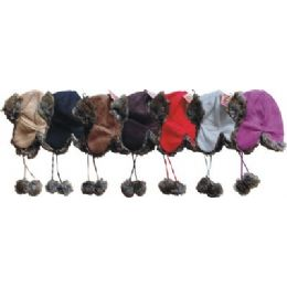 Fashion Aviator Suede Hat 24 pack