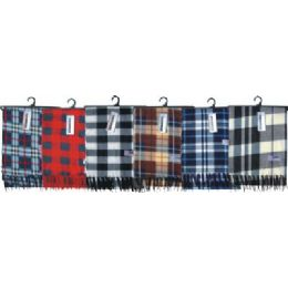 Adults Plaid Fleece Winter Scarf 48 pack