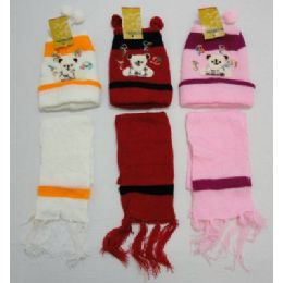 Baby Knit Cap With ScarF--Bears 72 pack