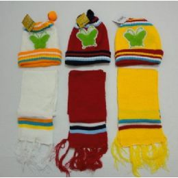 Baby Knit Cap With ScarF--Butterflies