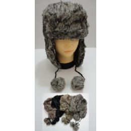 Bomber Hat with PomPom--Faux Fur 36 pack